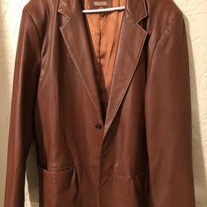 Michael Kors leather sport jacket tan/rust XL